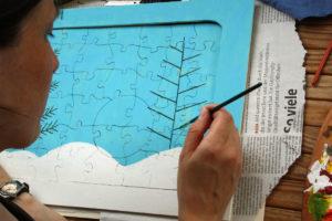 DIY Puzzle - das Motiv wird übertragen