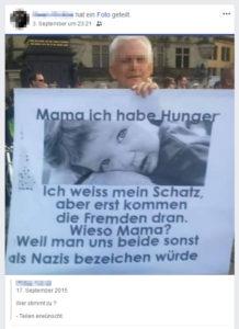 Kein Nazi, der ein fremdenfeindliches Bild hochhält.